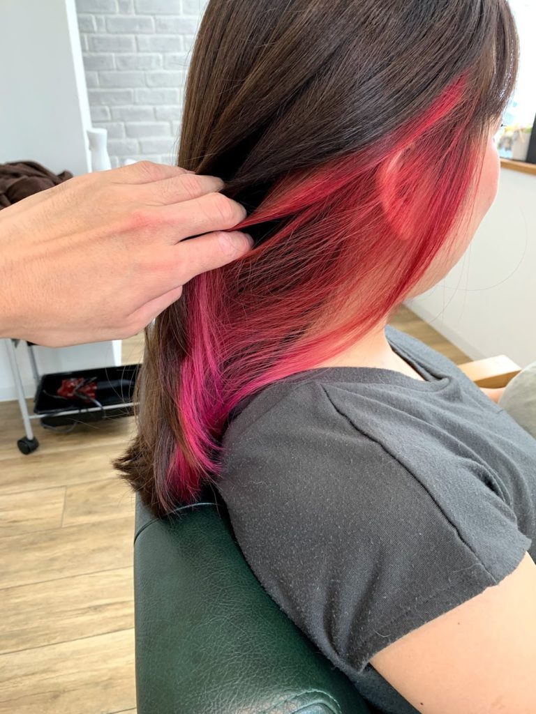 インナーカラーはピンクを♪
