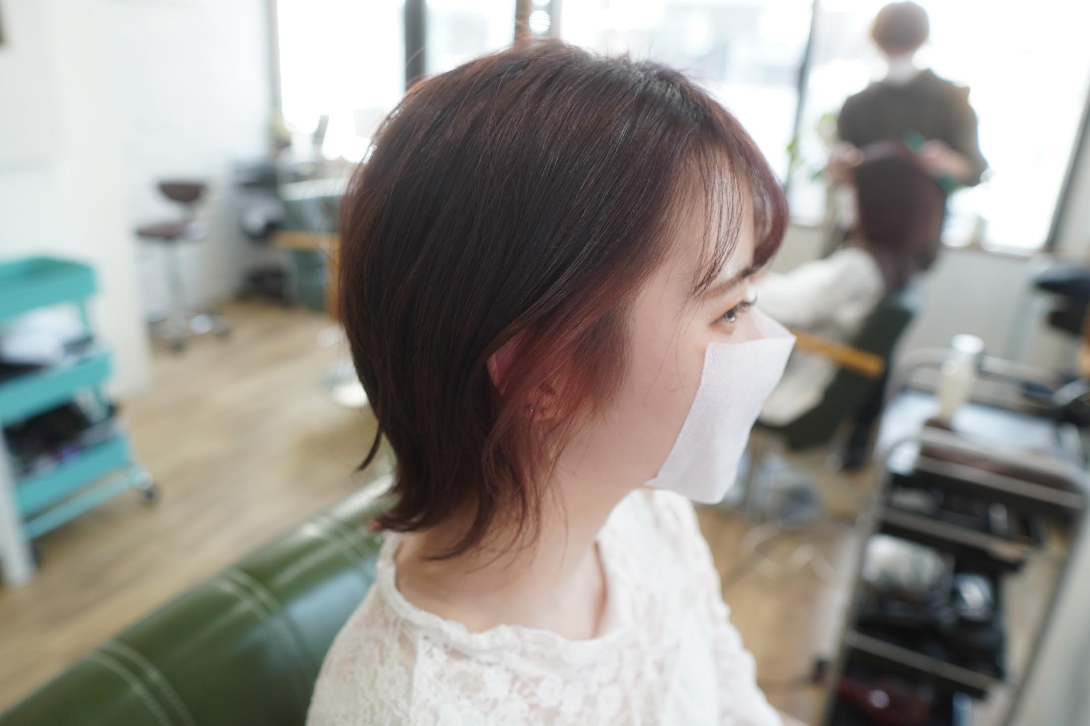 学割 神戸美容室 三宮美容室 ブリーチ1回 イヤリングカラー アクセサリーカラー ブリーチ1回ピンク ピンクカラー インナーカラー アクセサリーカラー